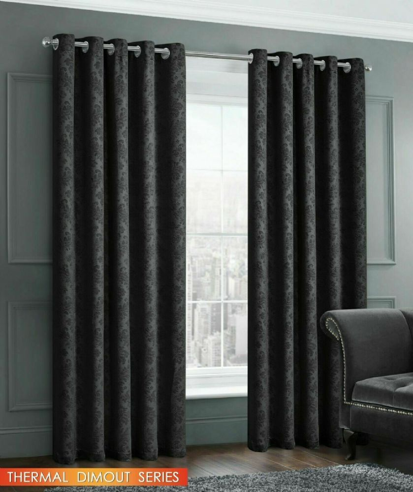 EMBOSSED DAMASK LIVINGROOM BEDROOM THERMAL BLOCKOUT RINGTOP EYELET CURTAINS BLACK